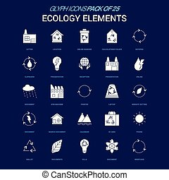 Ecology Elements White icon over Blue background. 25 Icon Pack