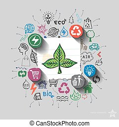 Ecology emblem. Environment collage with icons background