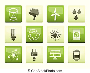 Ecology, energy and nature icons over green background