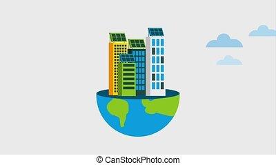 ecology energy renewable - city buildings on half planet...