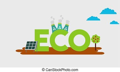 ecology energy renewable - eco text with solar panel nuclear...