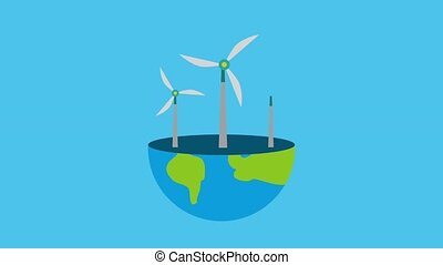 ecology energy renewable half planet earth with turbine wind...