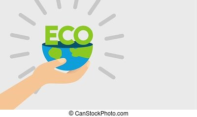 ecology energy renewable - hand holding half planet and text...