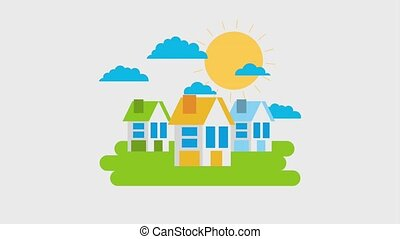 ecology energy renewable - houses home meadow clouds and sun...