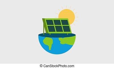 ecology energy renewable - solar panel falling on half...