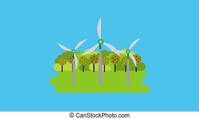ecology energy renewable - turbine wind power spinning in...