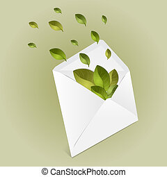 Ecology envelope with leaves