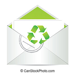 Ecology envelope with symbol of recycling