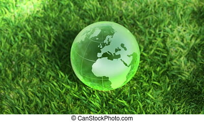 Ecology environment concept, nice up down animation camera move and fly around rotating glass globe in the green grass