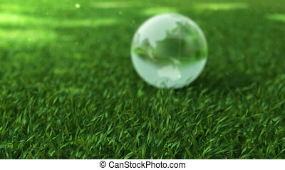 Ecology environment concept, glass globe in the green grass...