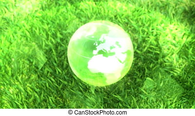 Ecology environment design text concept, glass globe in the green grass