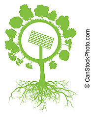 Ecology environmental green tree with roots and solar panel symbol vector background concept for green energy