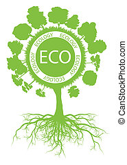 Ecology environmental green tree with roots vector background