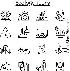 Ecology & Environmental icon set in thin line style
