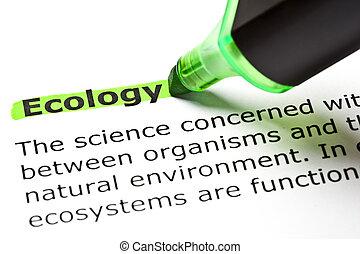 'ecology', evidenziato, in, verde