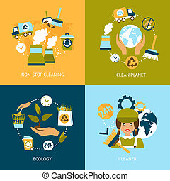 Ecology flat icons set