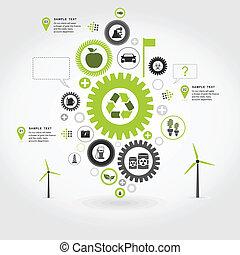 Ecology gear wheel - Ecology a gear wheel abstraction. A...