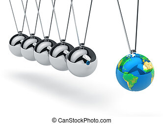 Newton's cradle with Earth globe
