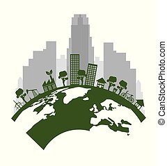 ecology green city with earth planet