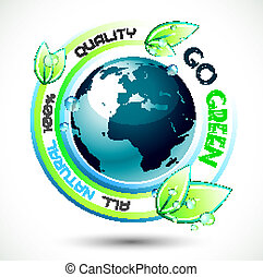 Ecology Green conceptual background with green related slogan, 3D earth and stunning wet leaves. Ideal for environmental eco related posters.