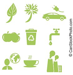 Ecology Green Icons Collection Isolated on White - Ecology...