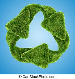 ecology:, groen gras, recyclend symbool