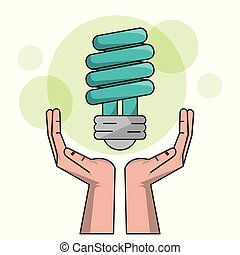 ecology hand with bulb light halogen clean energy electricity