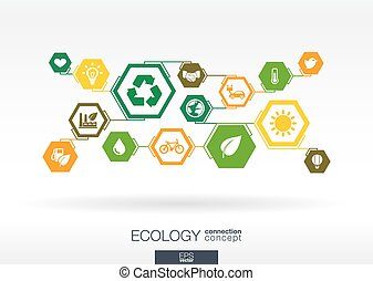ecology., hexágono, abstratos, fundo