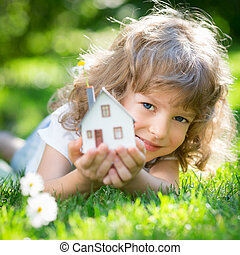 Ecology house in hands - Ecology house in childrens hands...