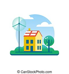 Ecology house with green energy windmill and tree