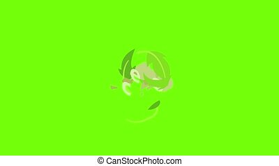 Ecology icon animation cartoon object on green screen background