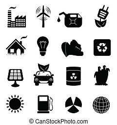 Ecology icon set - Eco symbols in icon set