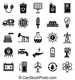 Ecology icon set, simple style