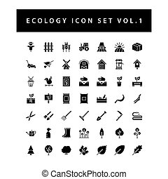 Ecology icon set with black color glyph style design. Vol.1