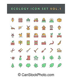 Ecology icon set with filled outline style design Vol.1