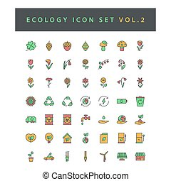 Ecology icon set with filled outline style design Vol.2