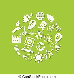 ecology icons in circle