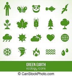 Ecology icons isolated on white. Vector illustration.