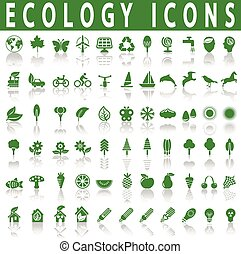 Ecology icons on a white background with shadow