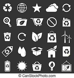 Ecology icons on gray background