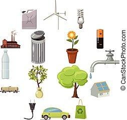 Ecology icons set, cartoon style - Ecology icons set in...