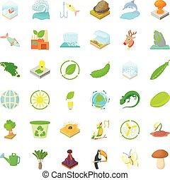 Ecology icons set, cartoon style