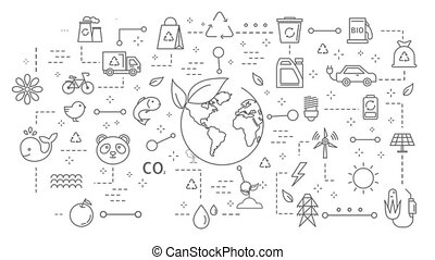 Ecology icons set. - Ecology icons set with globe on white.
