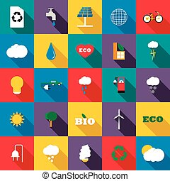 Ecology icons set, flat style