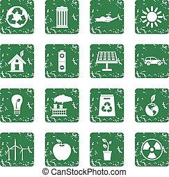 Ecology icons set grunge