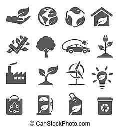 Ecology icons set on white background