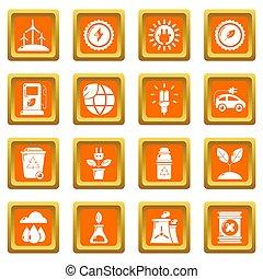 Ecology icons set orange square