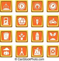 Ecology icons set orange square vector