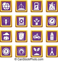 Ecology icons set purple square vector