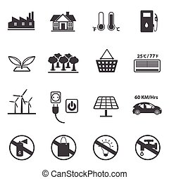 Ecology icons set. Vector icons